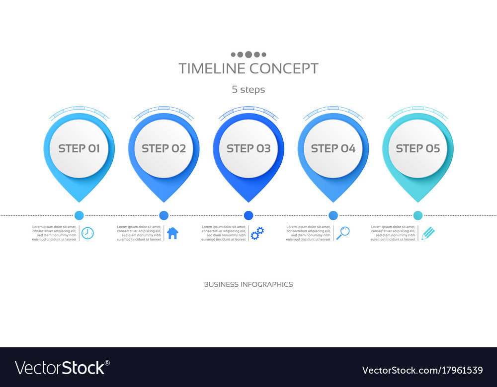 5 steps timeline infographic template royalty free vector