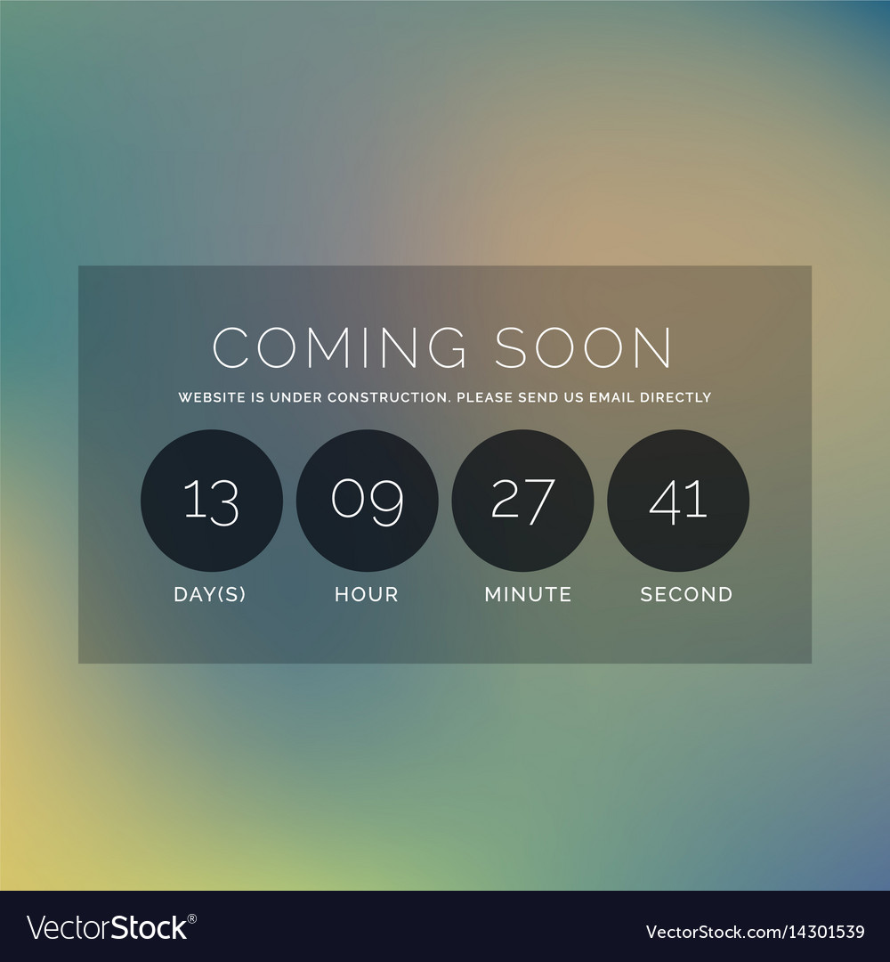 Blurred background with coming soon text and vector image