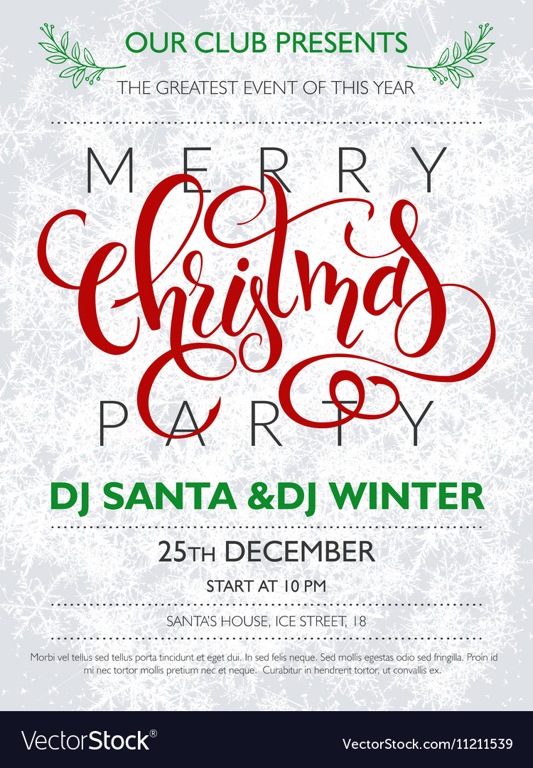 Christmas party poster with lettering vector image
