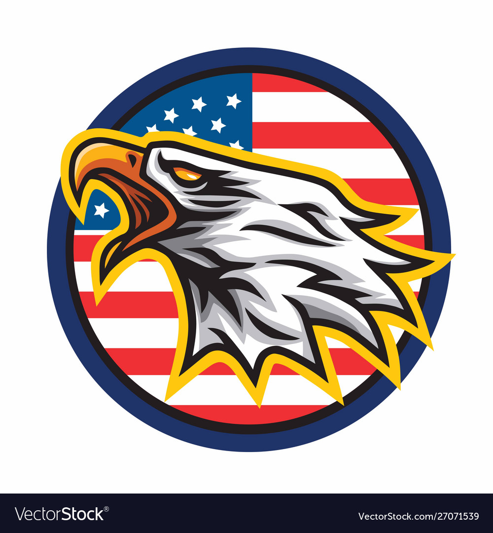 Eagle logo mascot icon circle american flag