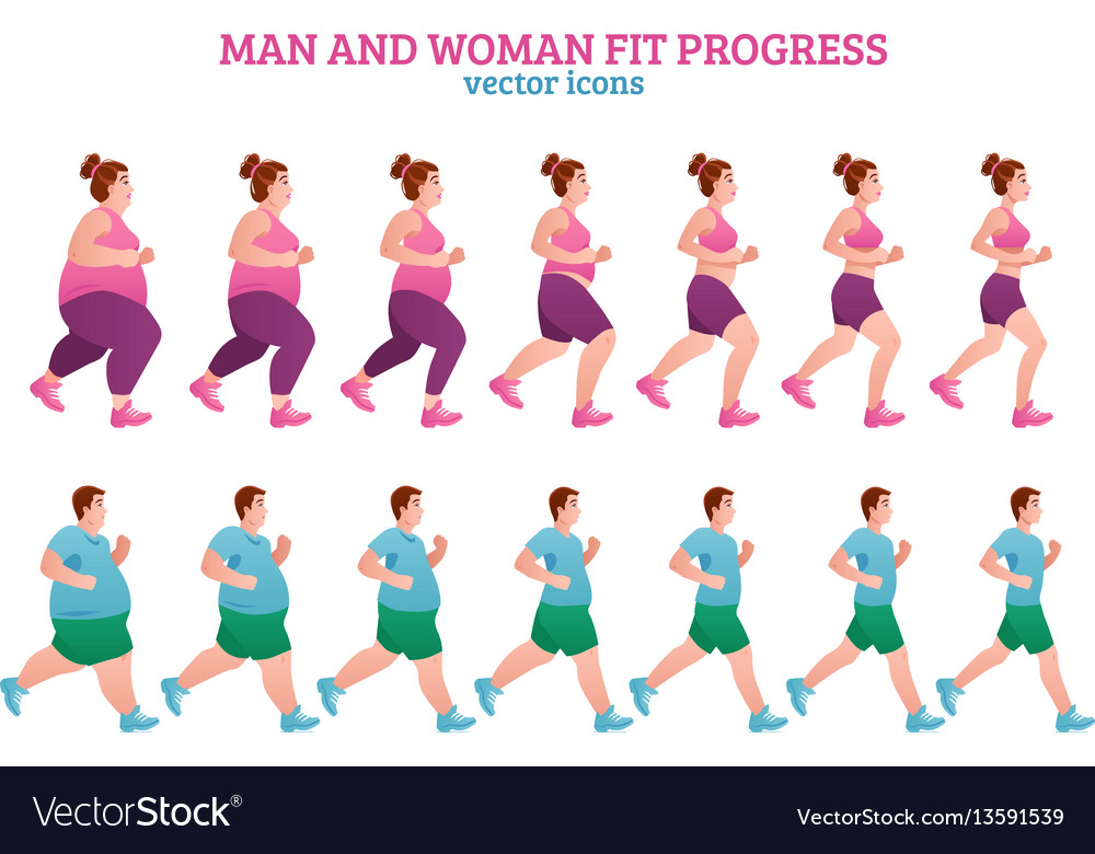 Fitness stages composition vector image
