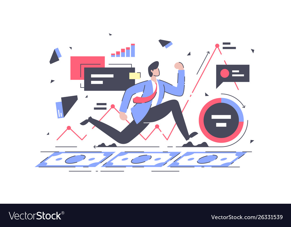 Flat young businessman running finance with graph