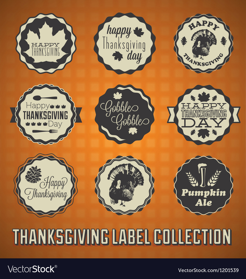 Happy Thanksgiving Labels and Icons