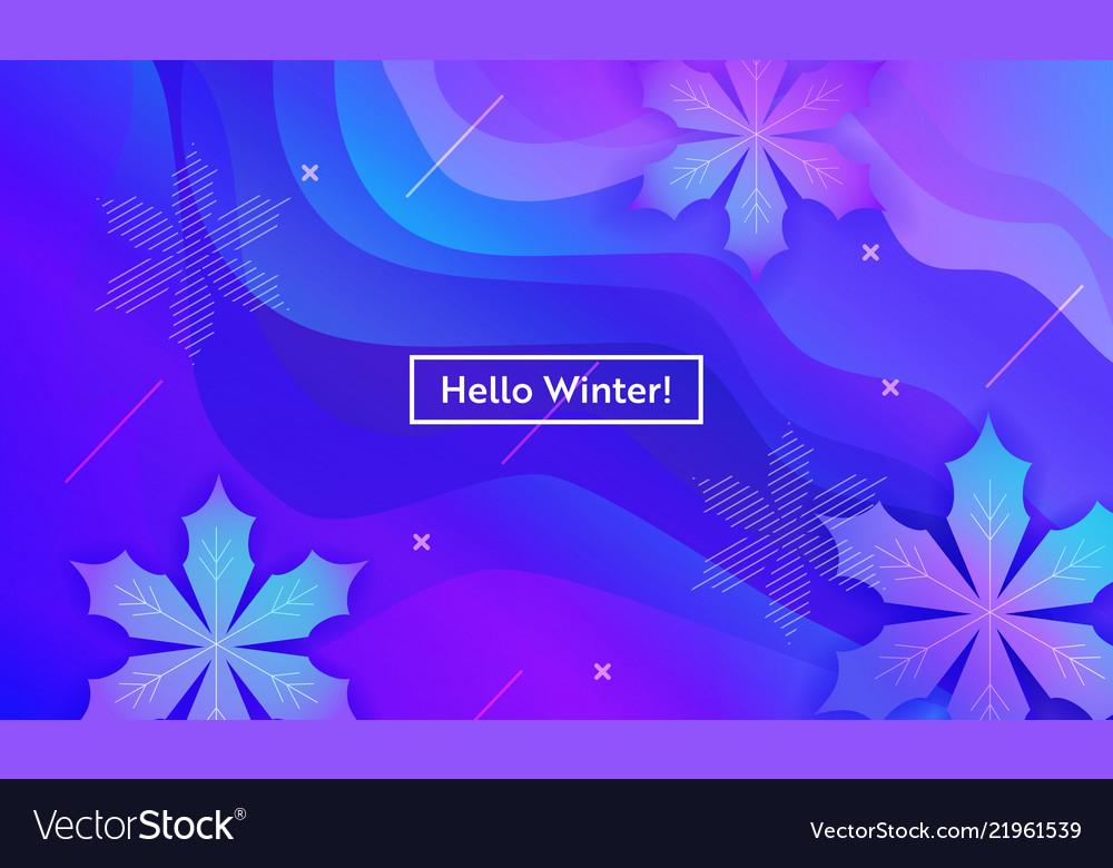 Hello winter layout with snowflakes for web site