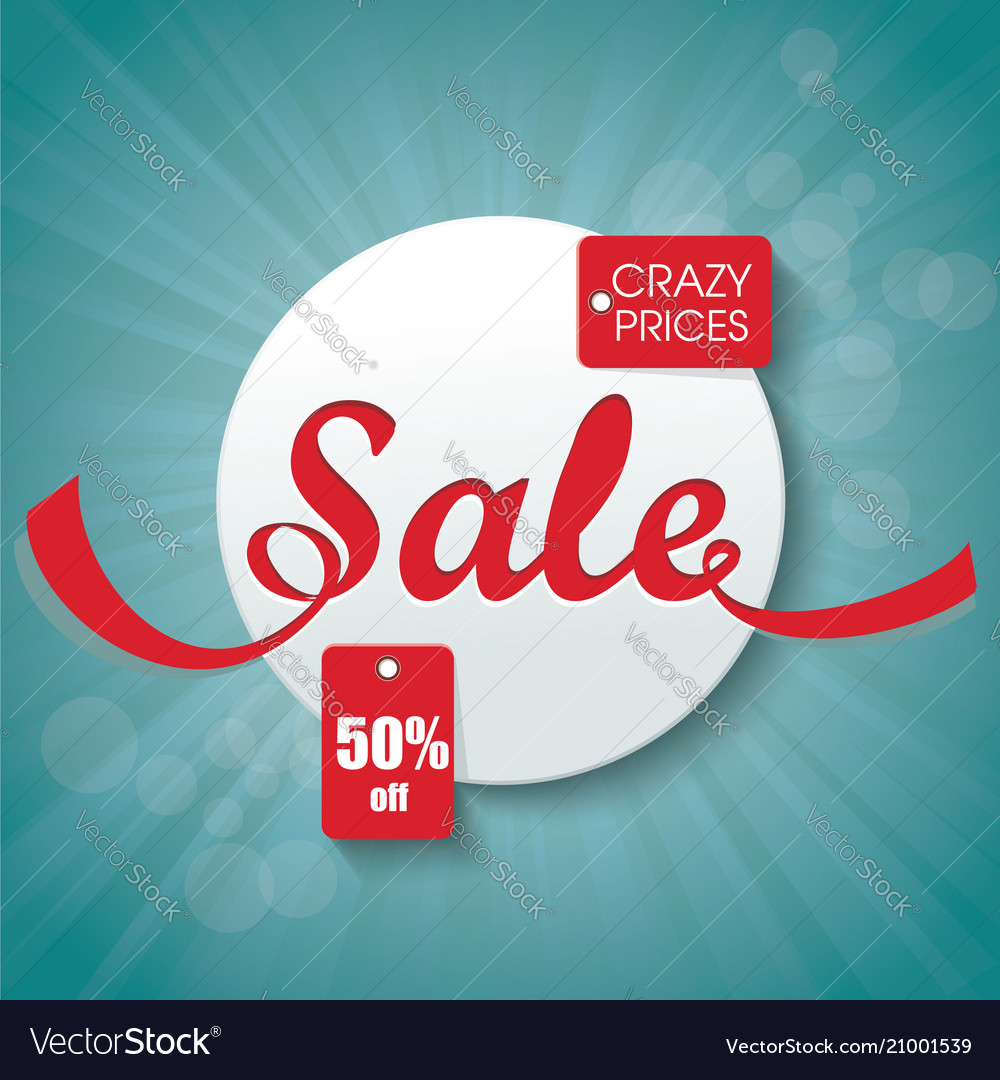Hot deal red 3d sale sign with tags template