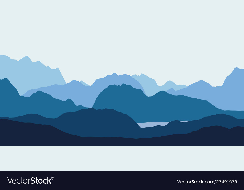 Landscape with blue silhouettes hills
