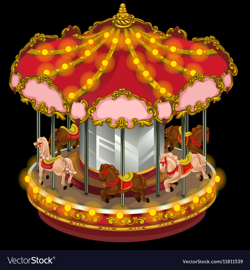 Merry-go-round with horses on a black background