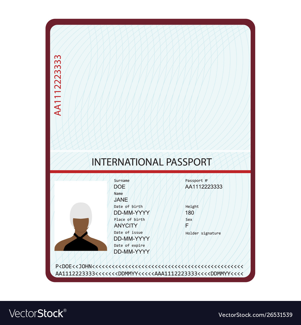 Passport with biometric data identification