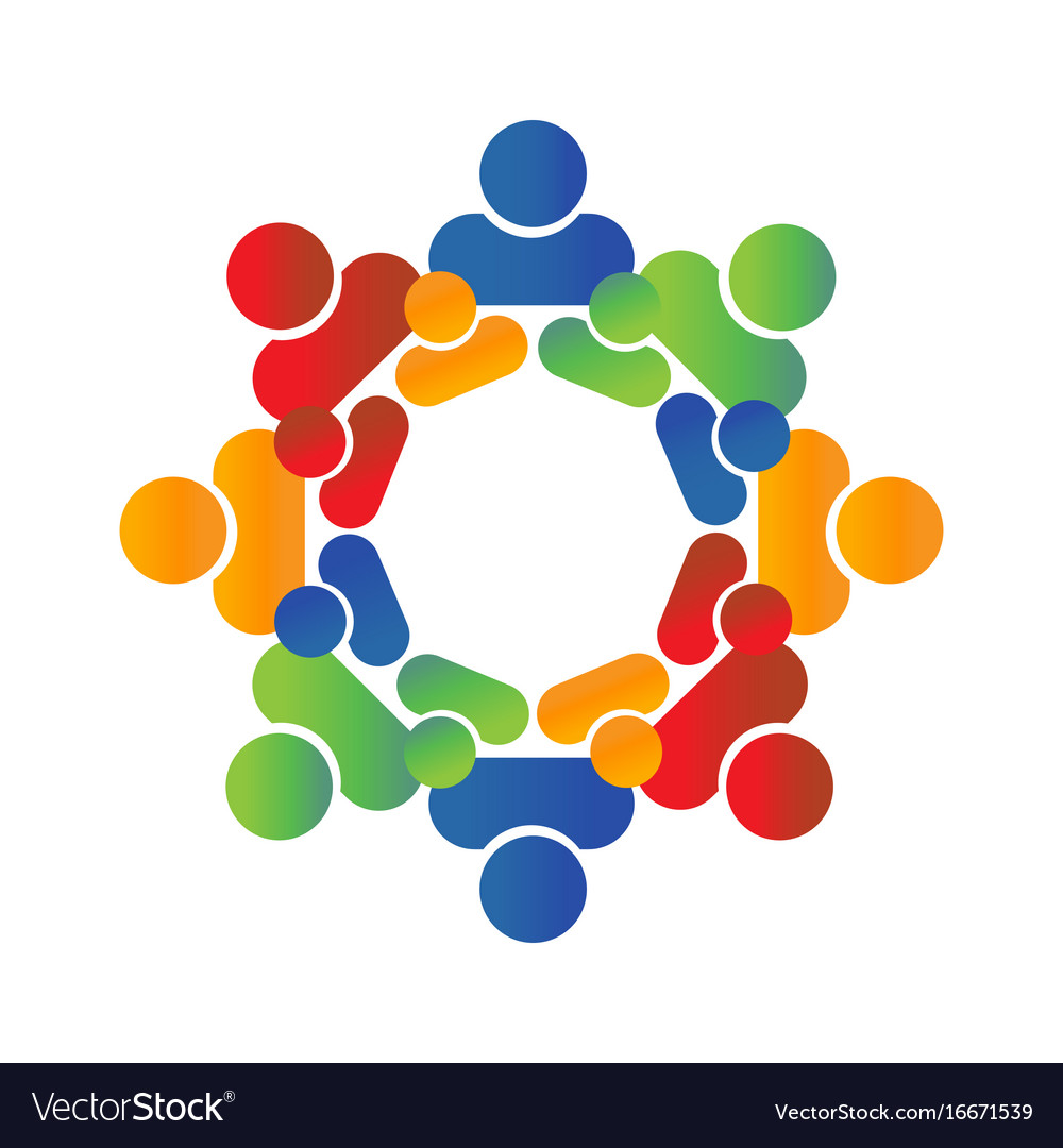 People logo round circle of group vector image