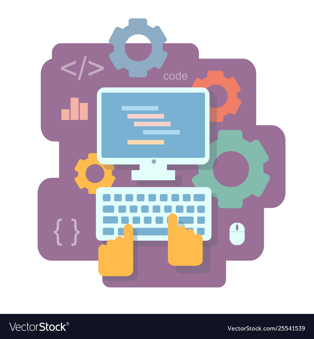 Programming and and coding flat concept