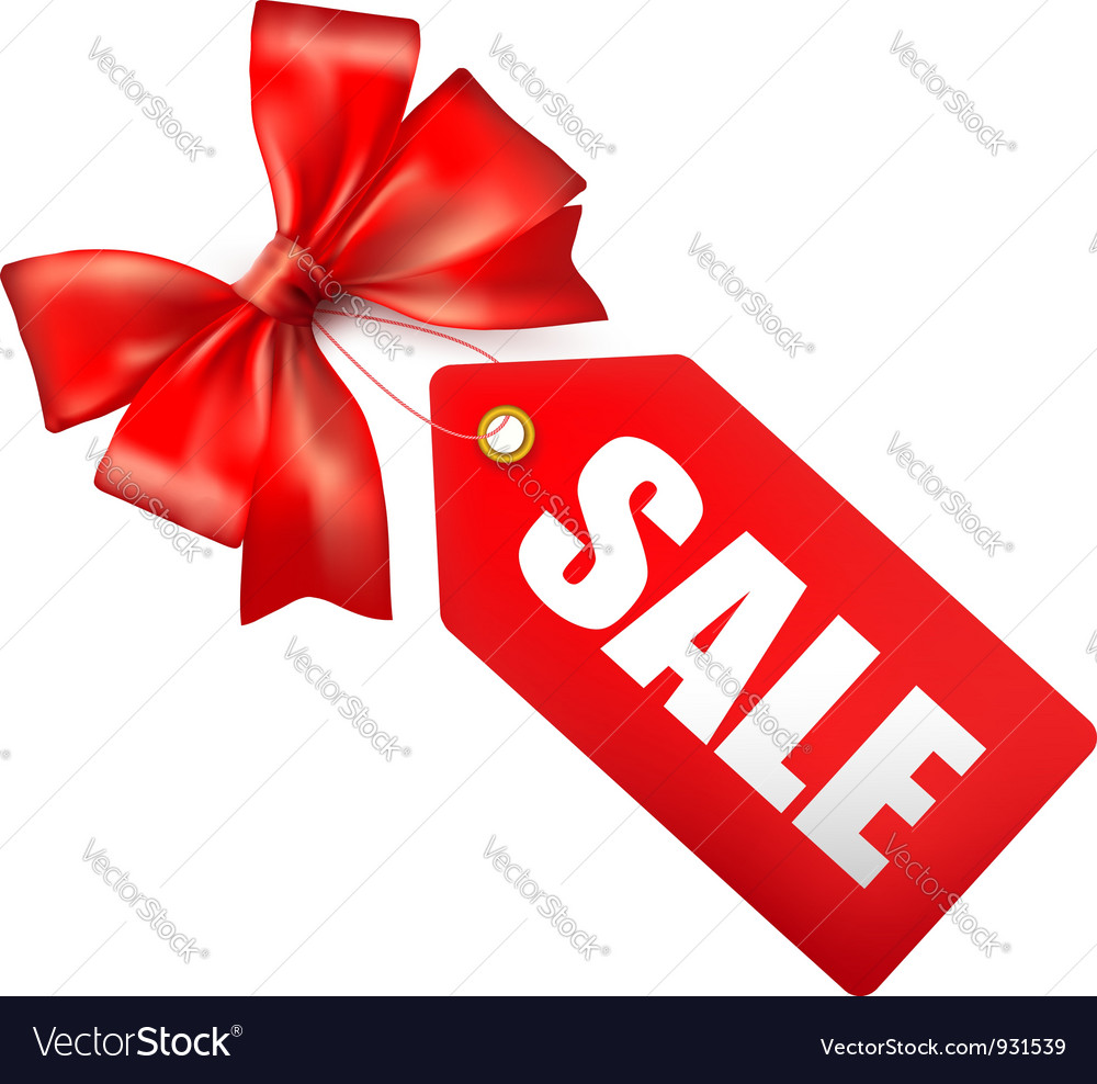 Red bow with card sale vector image