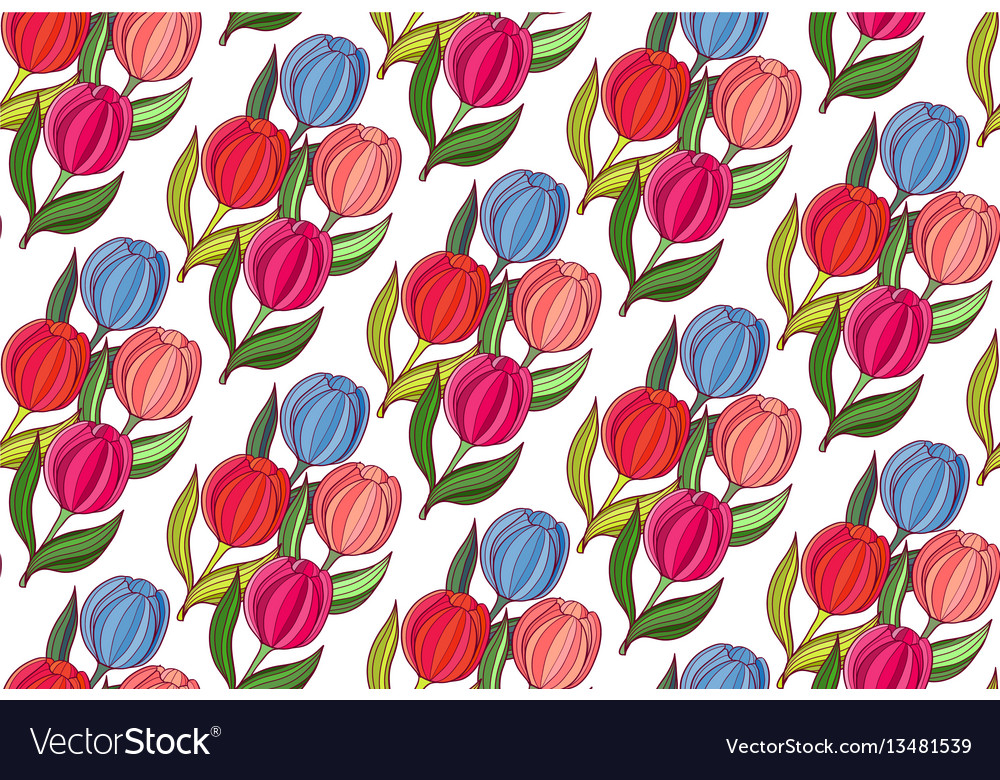 Seamless background woth spring flowers of tulips