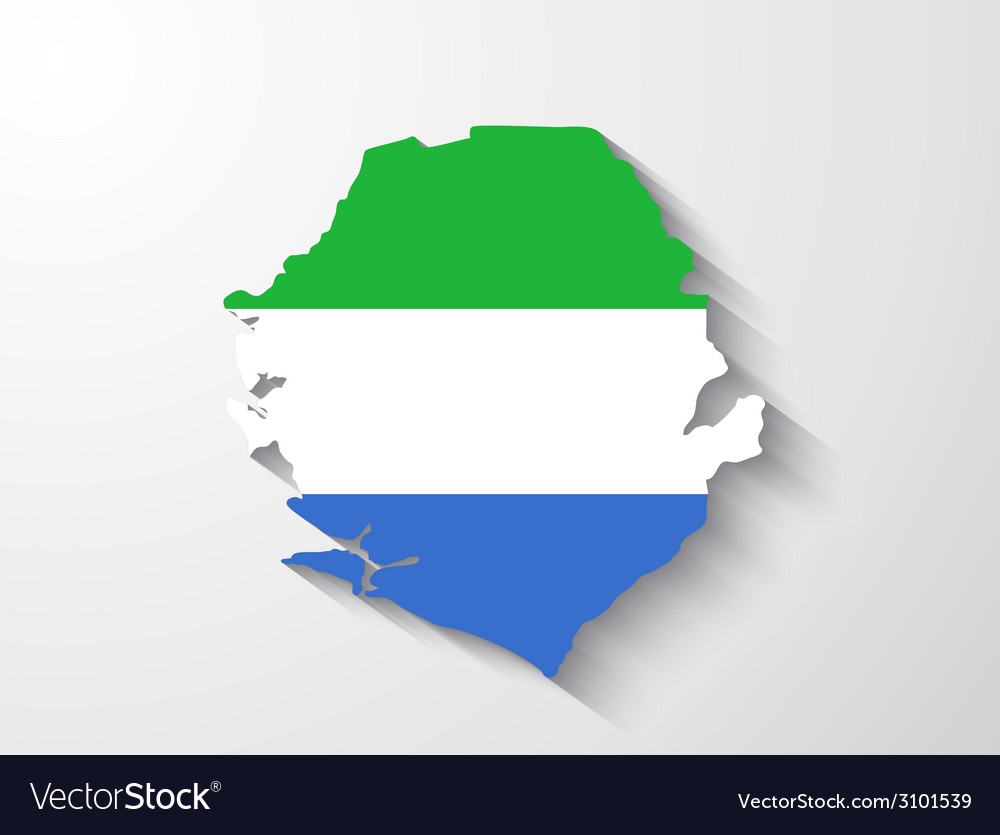 Sierra Leone map with shadow effect