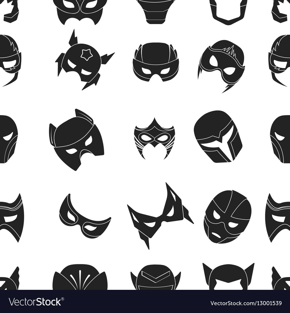 superhero mask pattern icons in black style big vector image