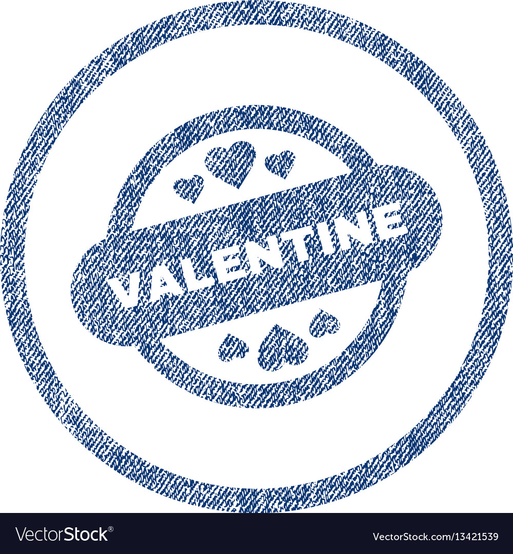 Valentine stamp seal rounded fabric textured icon