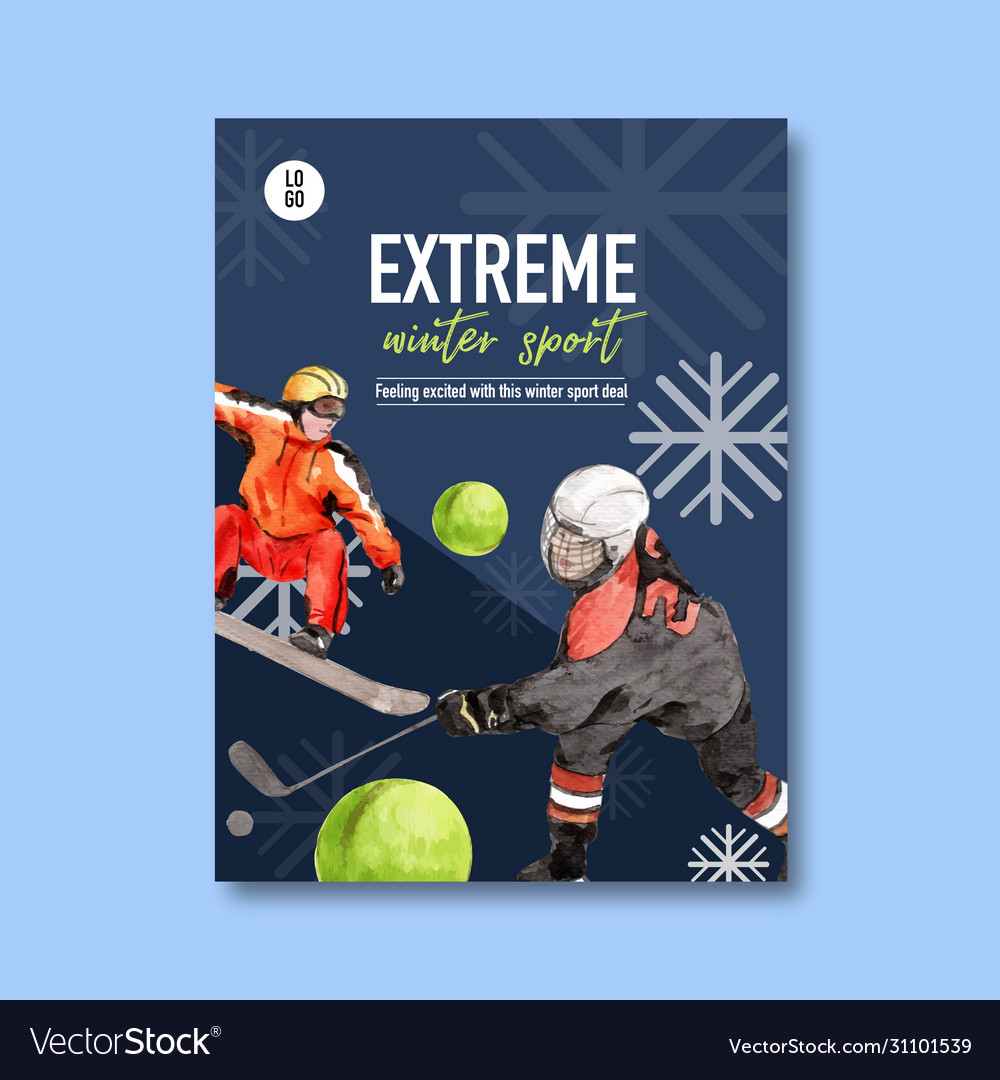 Winter sport poster design with hockey ski snow