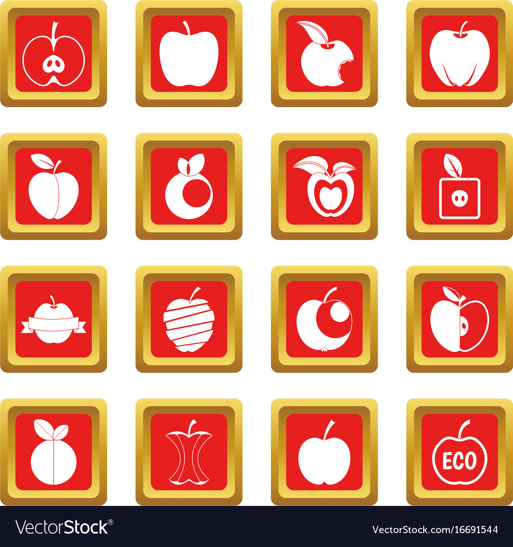 Apple icons set red