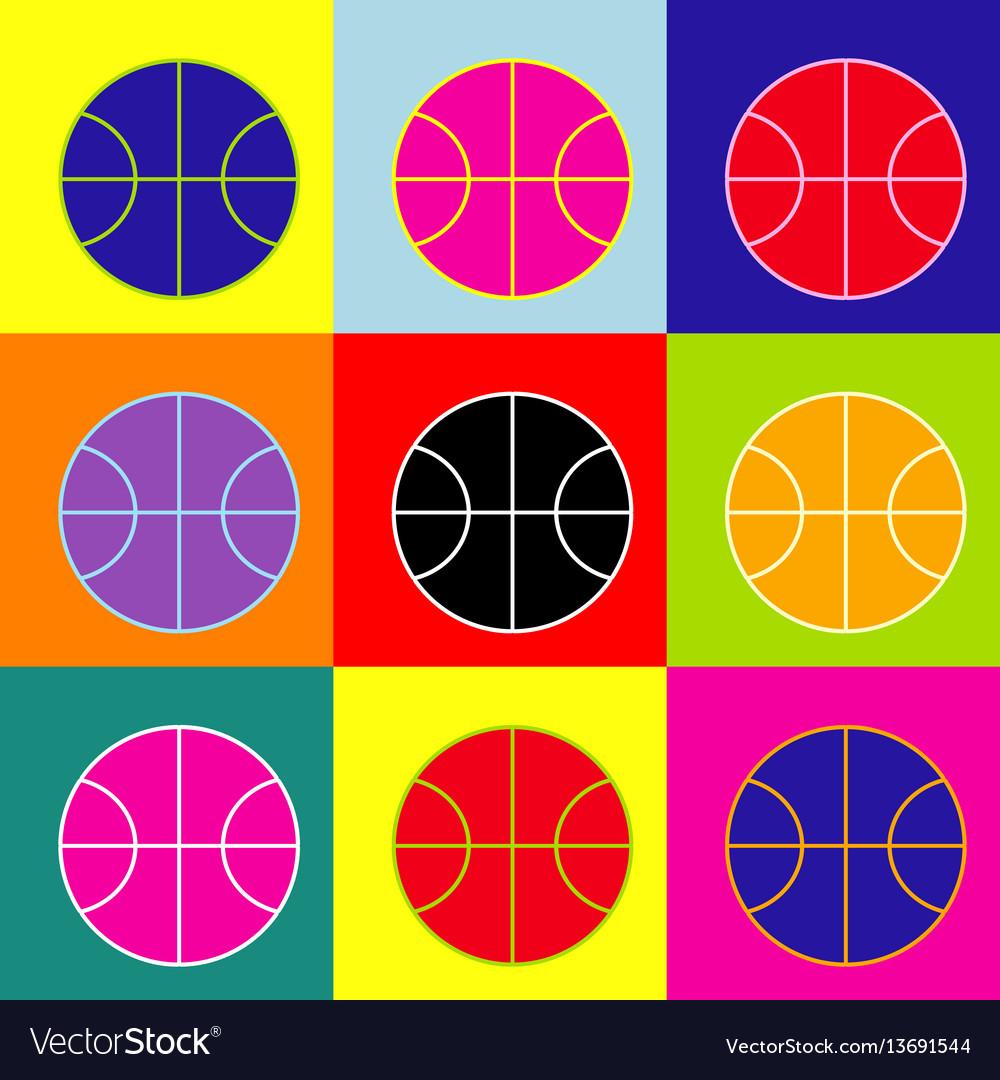 Basketball ball sign pop-art vector image