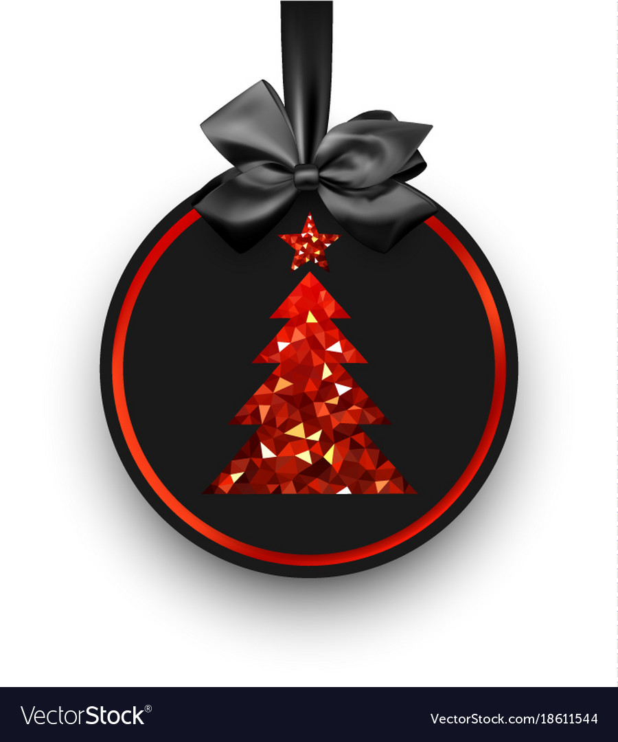 Black card with red christmas tree vector image