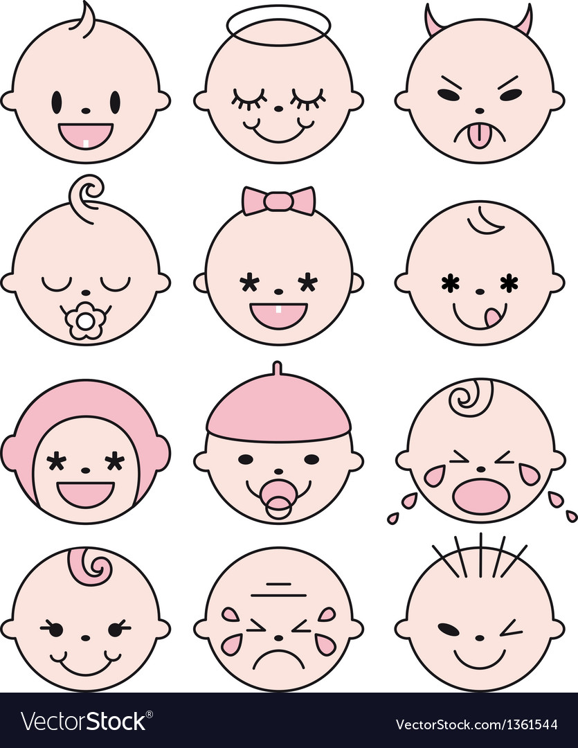 Cute baby faces vector image