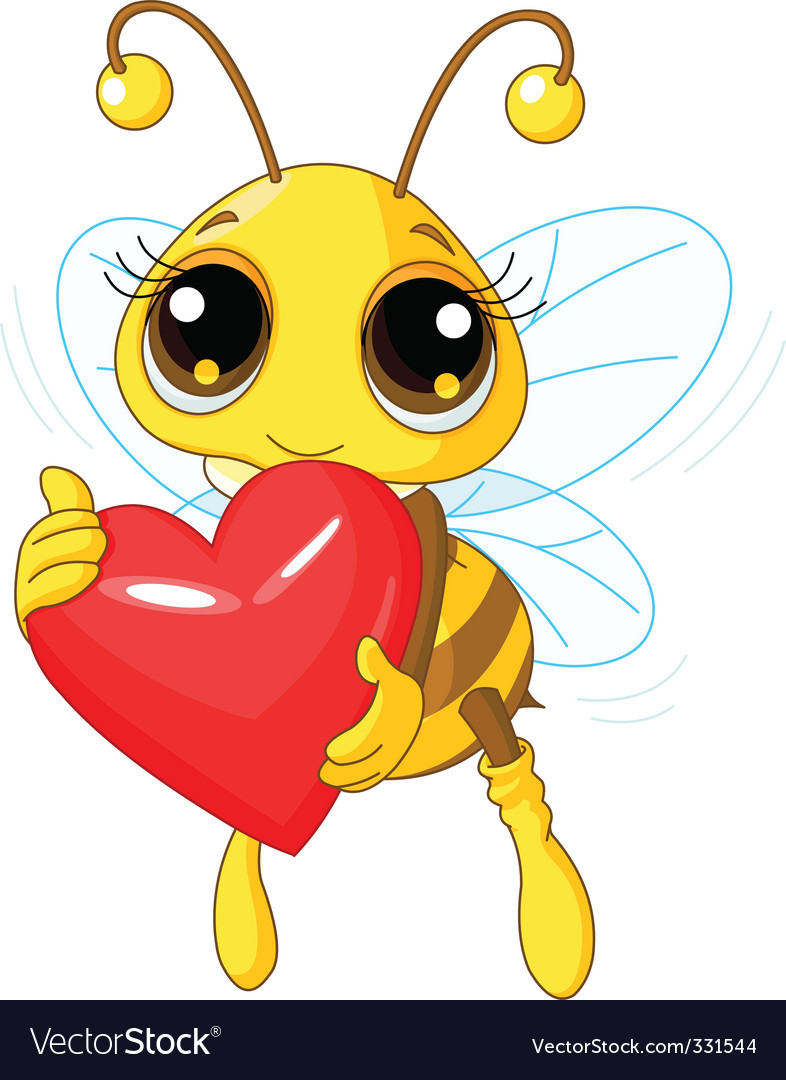 Cute bee holding love heart