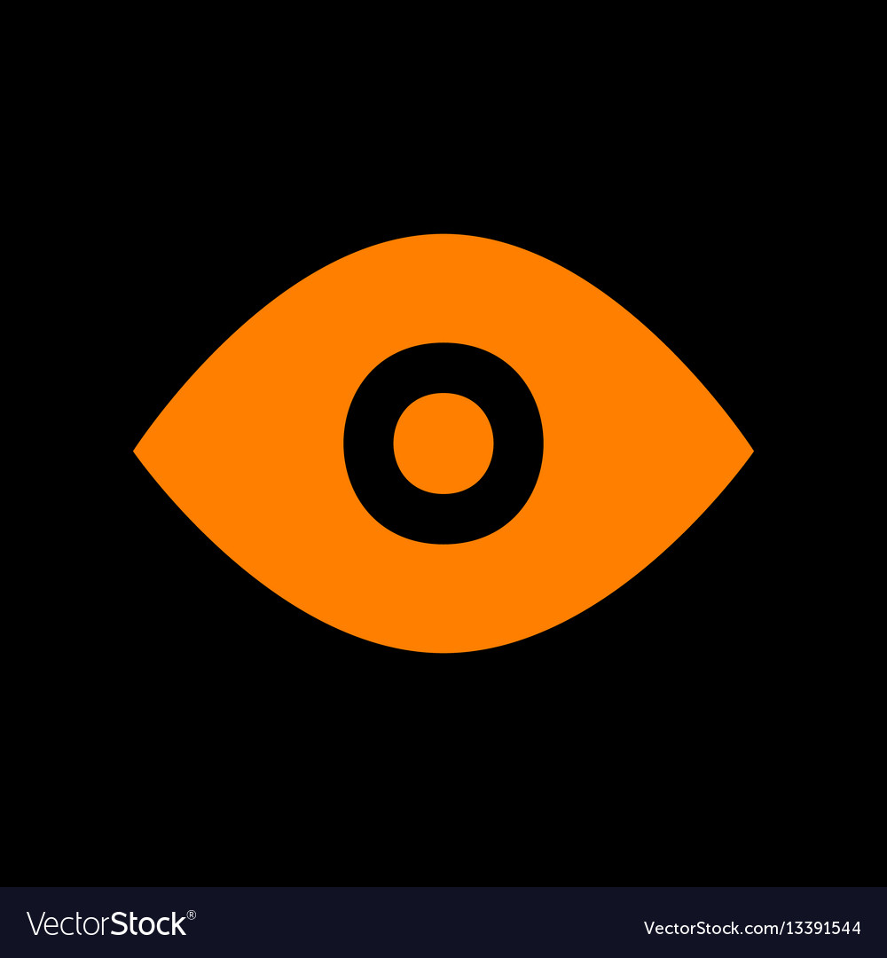 Eye sign orange icon on black