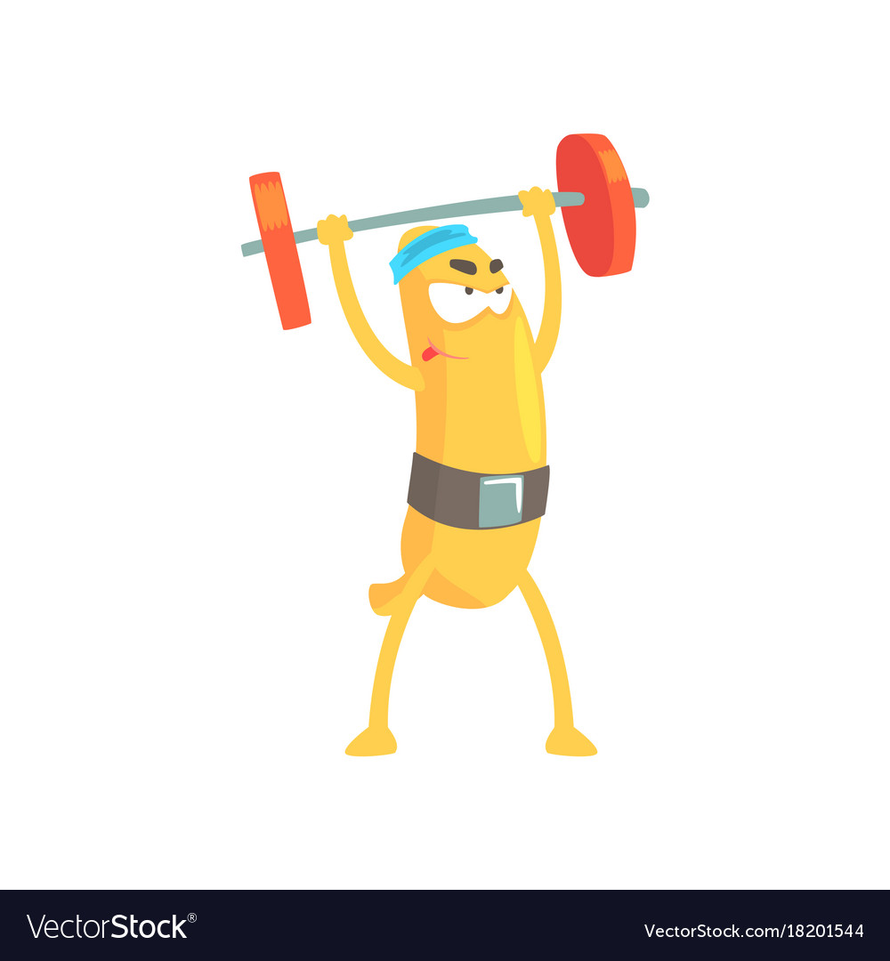 Funny Banana Doing Exercises With Barbell Cartoon Vector Image