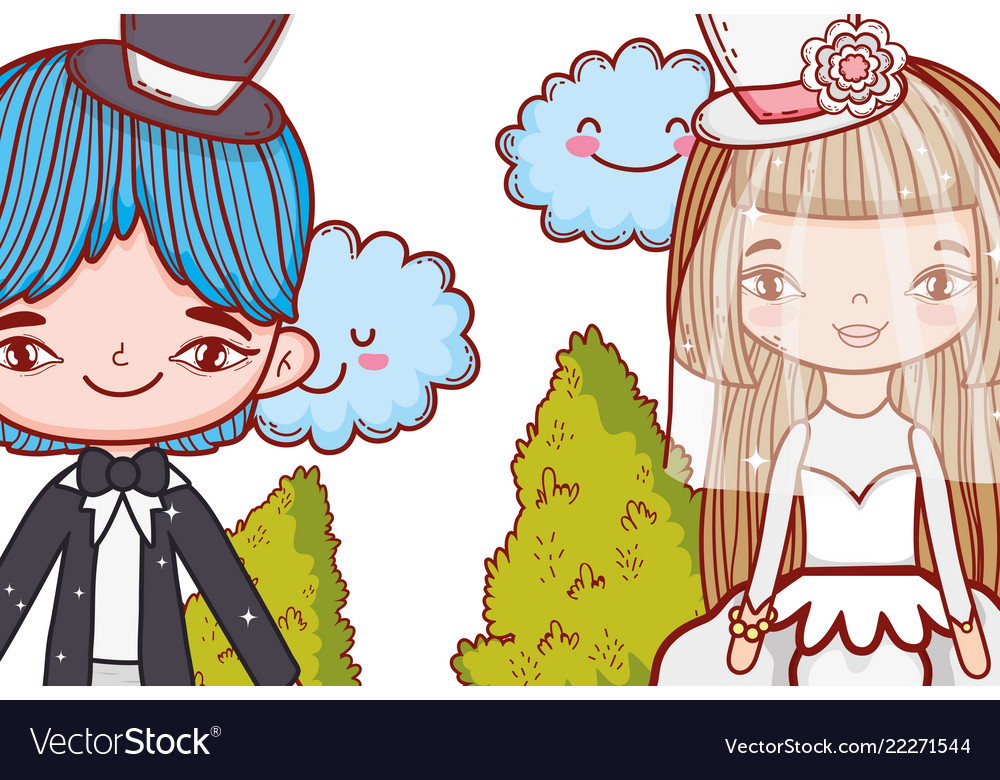 Girl and boy marriage with kawaii clouds and