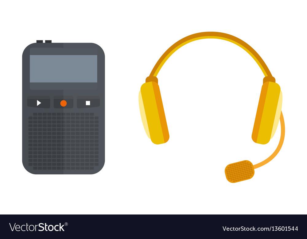 Headphones icon isolated microphone