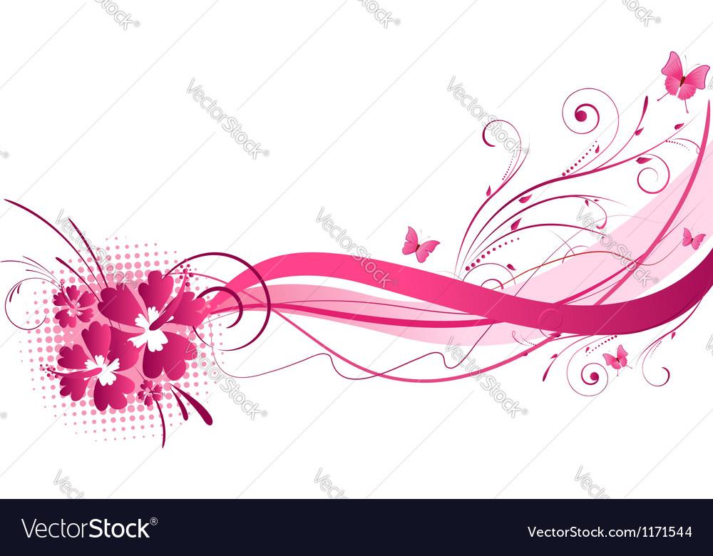 Hibiscus pink wave vector image