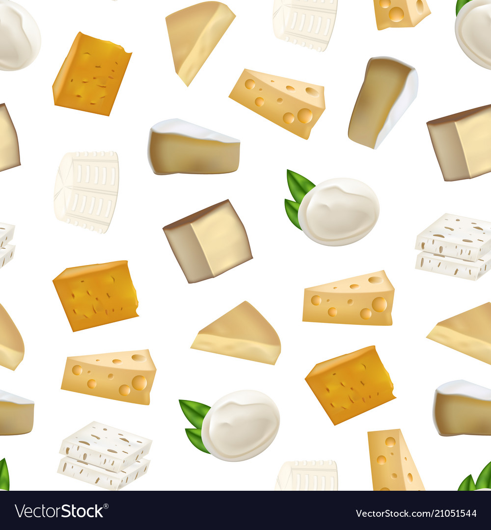 Realistic detailed 3d cheese seamless pattern