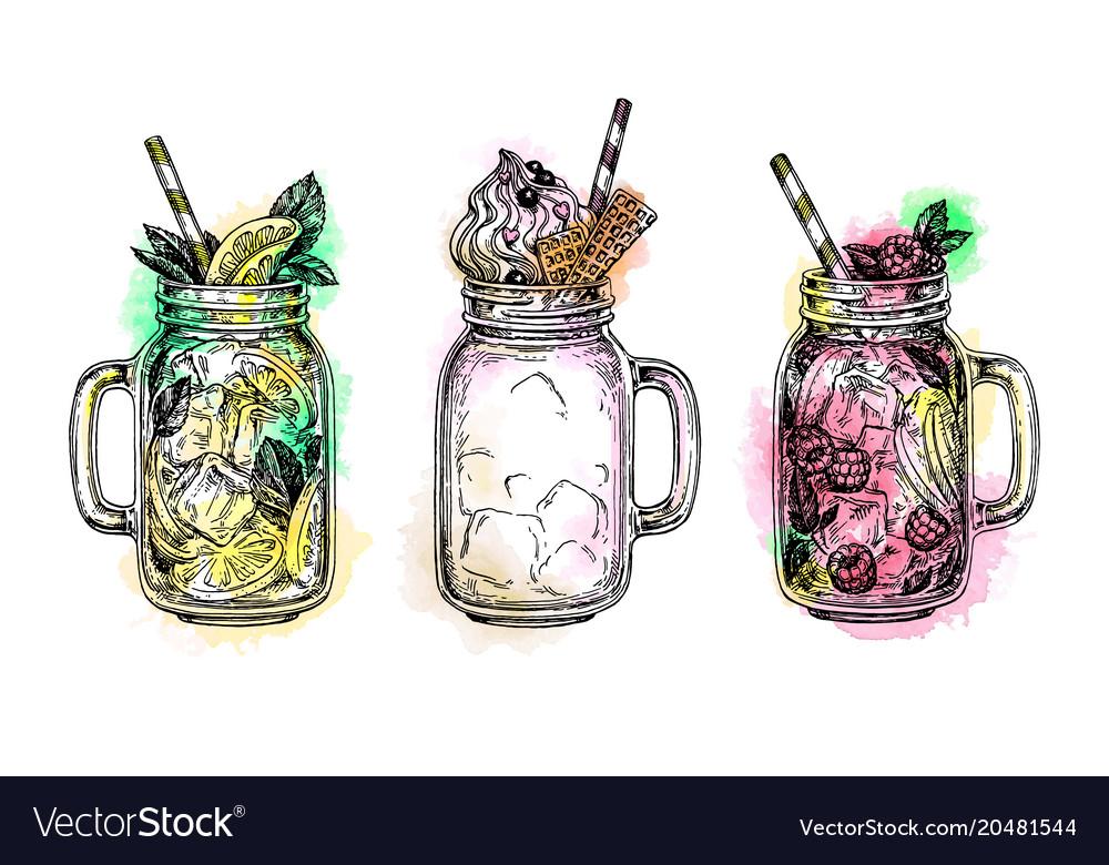 Set of drinks in in mason jars vector image