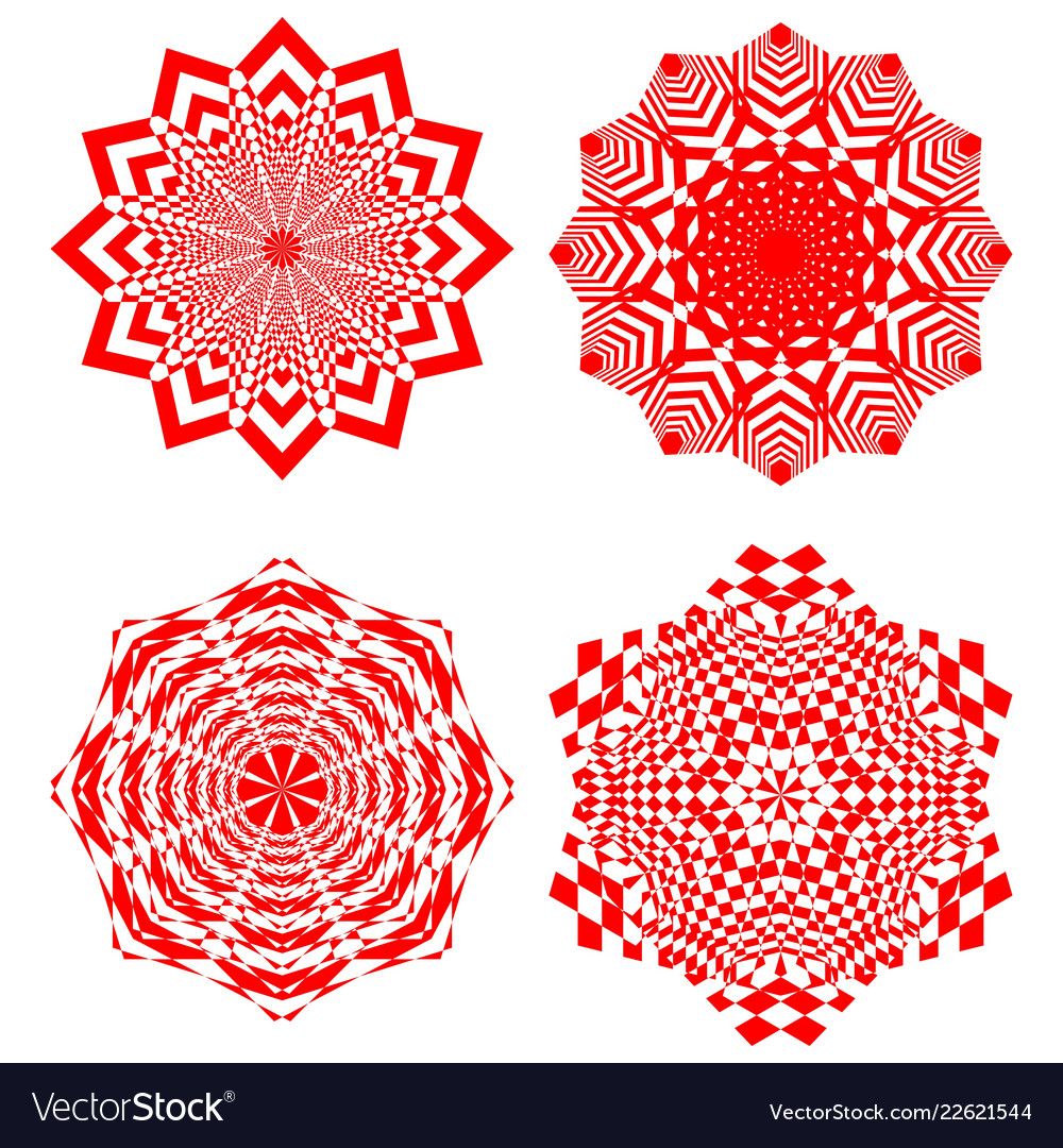 Set of simple geometric design elements red