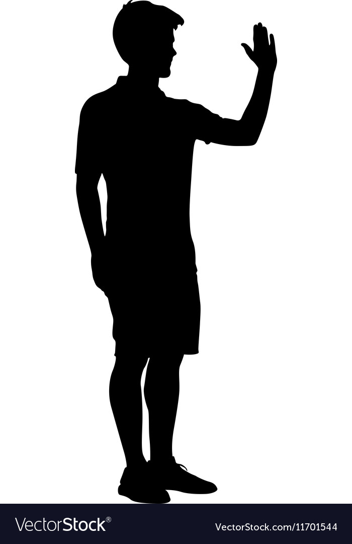 Silhouette man raised his left hand up vector image