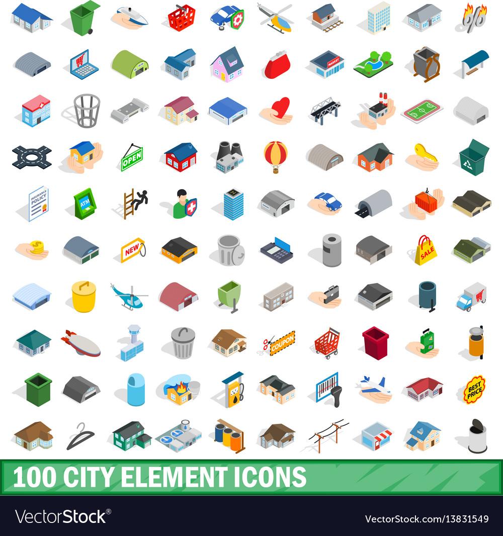 100 city element icons set isometric 3d style