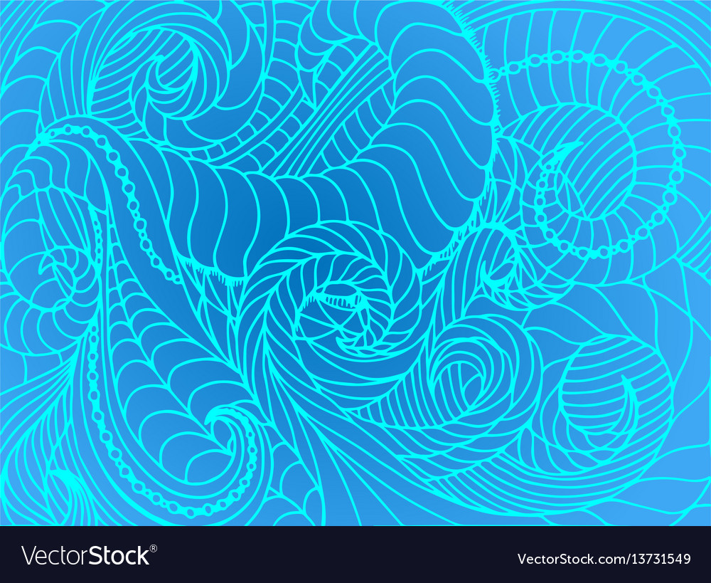 Abstract wave background of doodle hand
