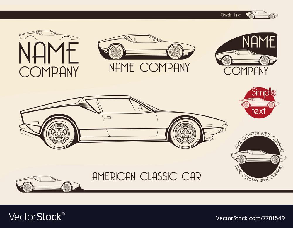 American classic sports car silhouettes
