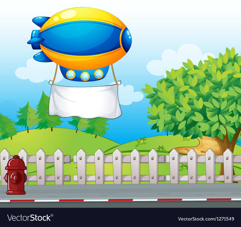 An airship with a banner near the road vector image