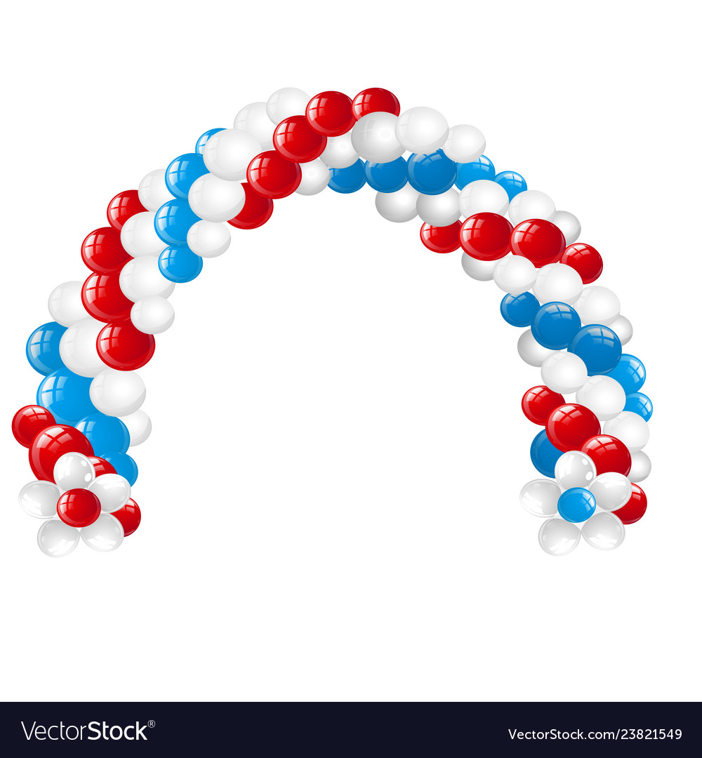 Arc made of white red blue balloons isolated on