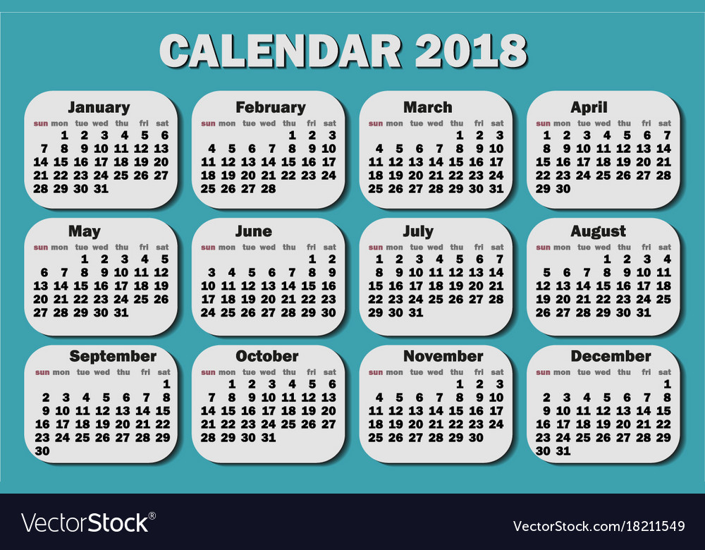 Calendar 2018 year week starts from monday
