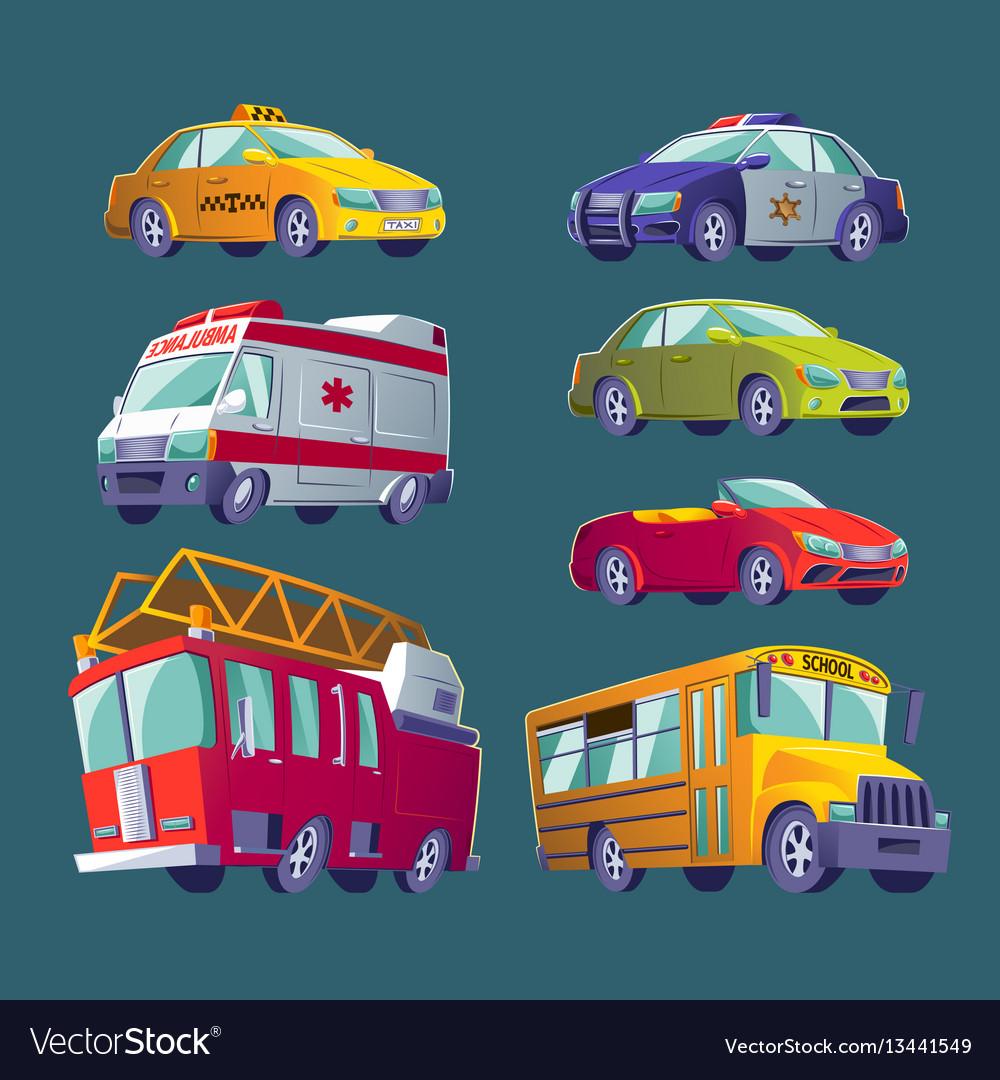 Cartoon set isolated icons urban transport