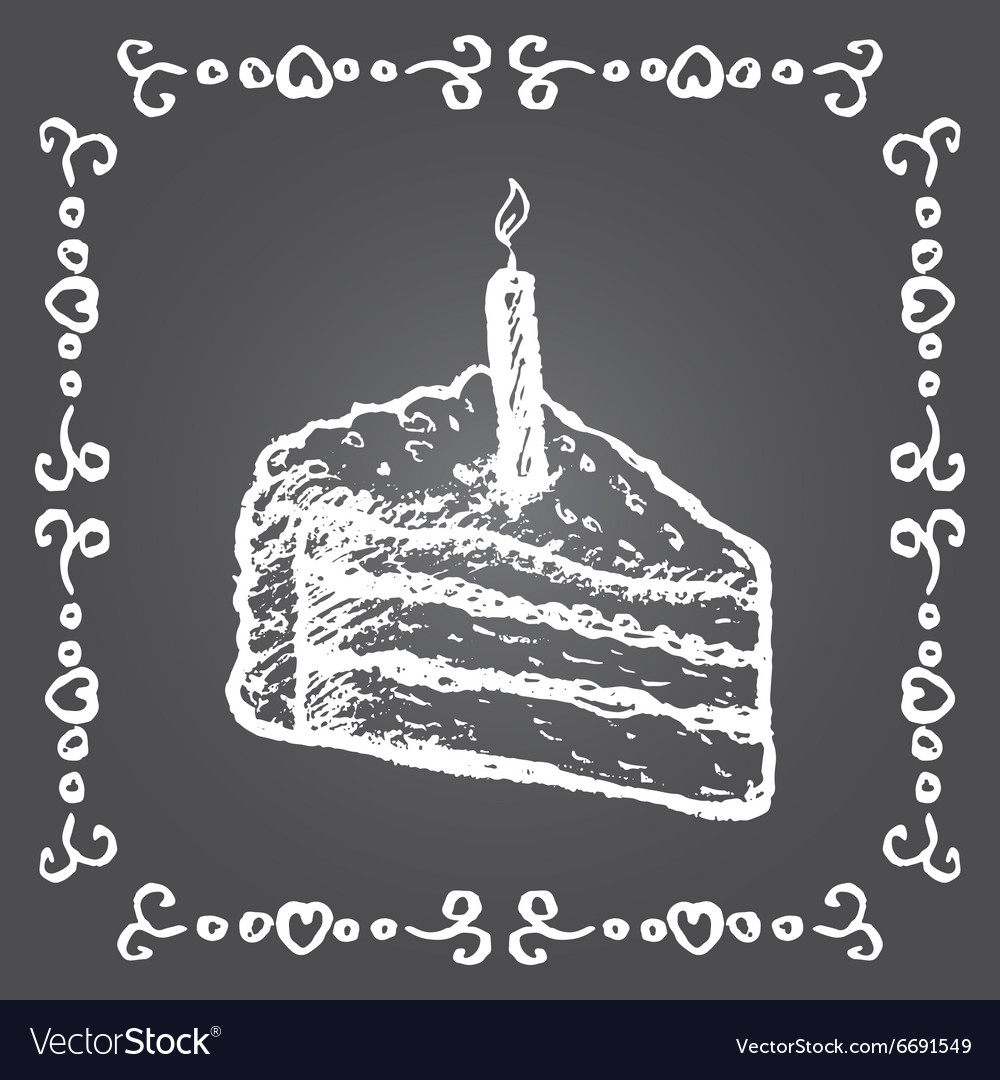 Sensational Chalk Birthday Cake And Vintage Frame Royalty Free Vector Birthday Cards Printable Opercafe Filternl