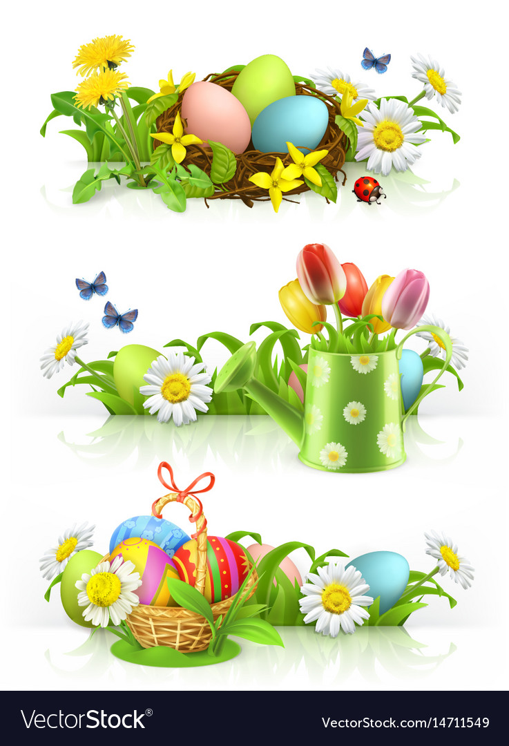 Easter Spring Flowers 3d Banner Set Royalty Free Vector