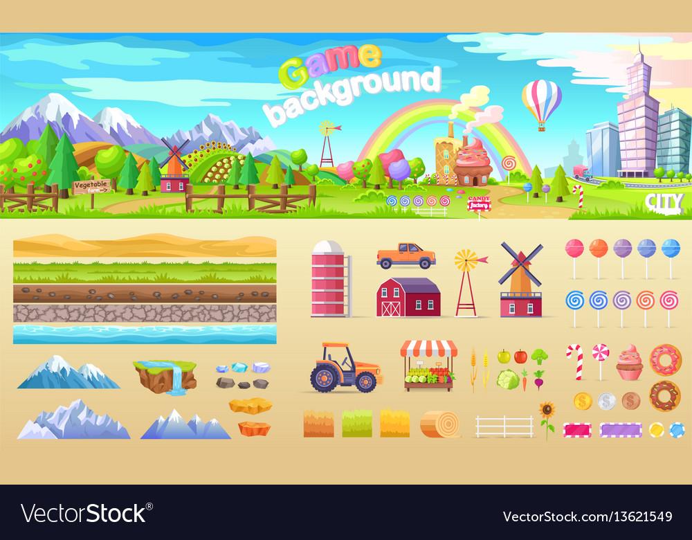 Game background set of urban playground structure