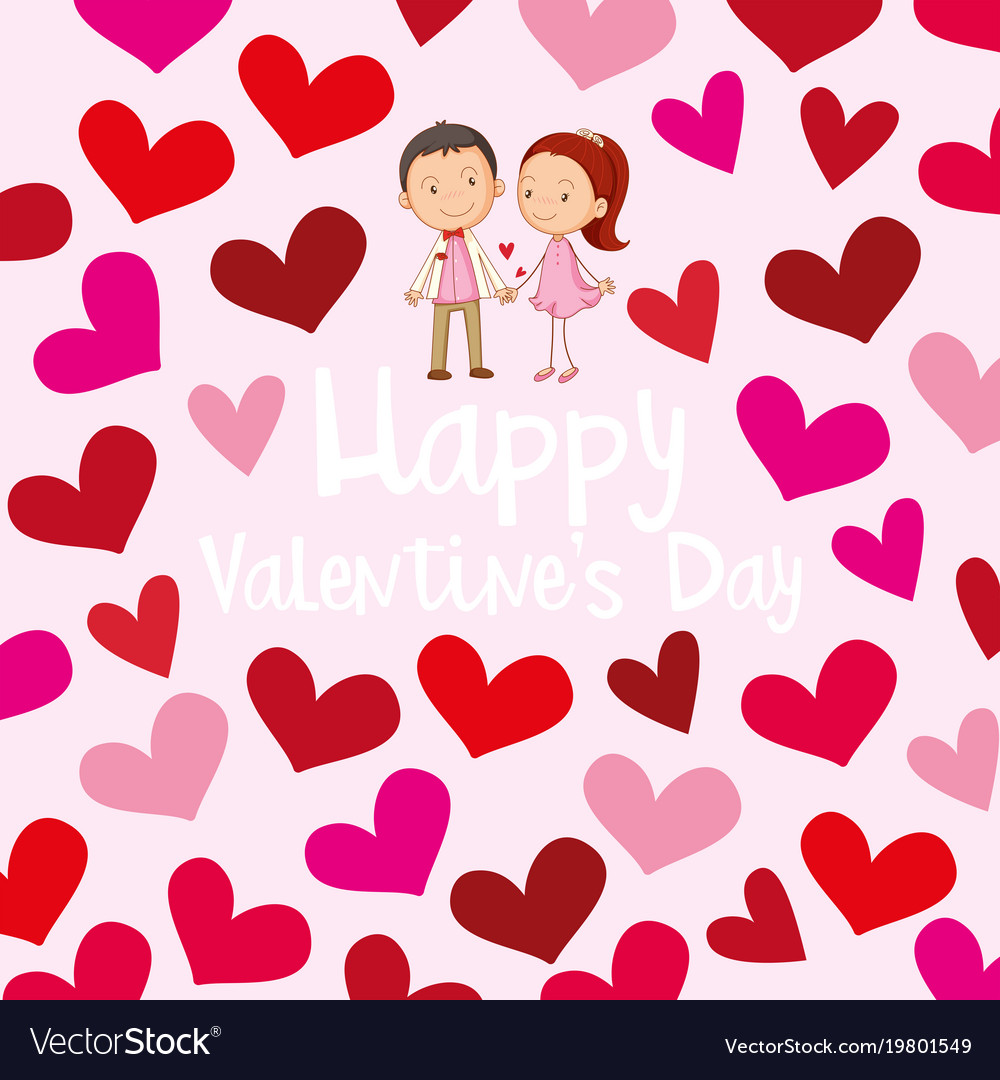 happy valentine card template with love couple vector image