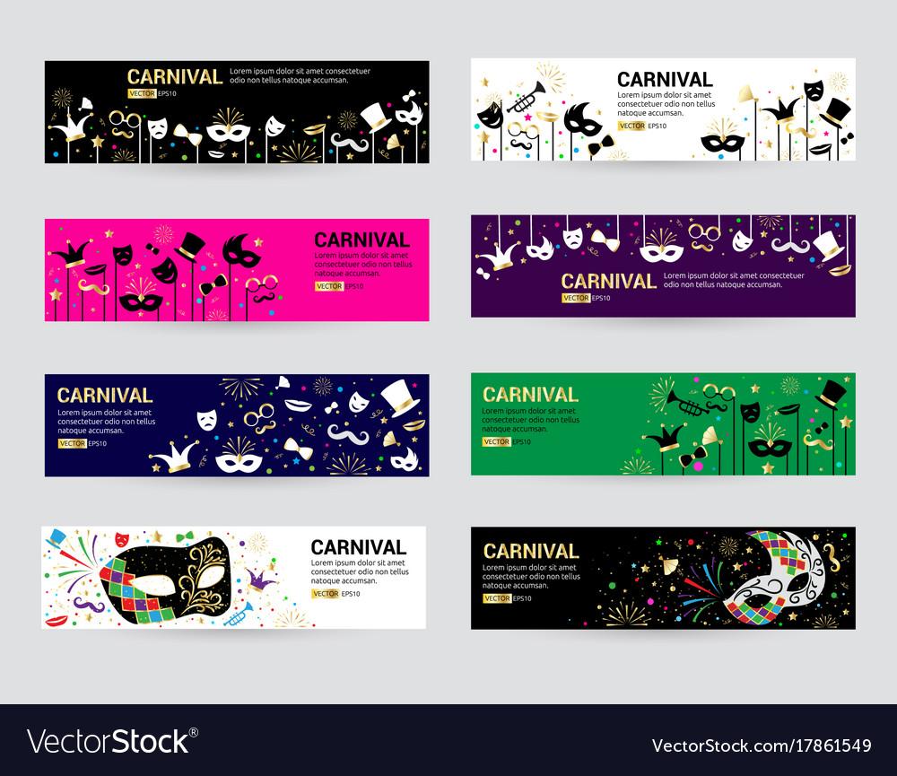 Horizontal carnival web banner masks celebration