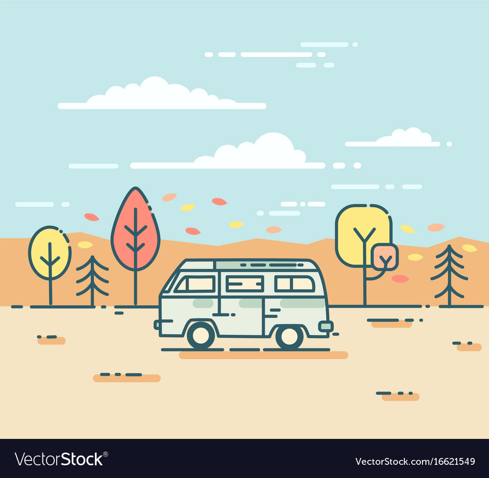 Minivan and in the autumnal forest