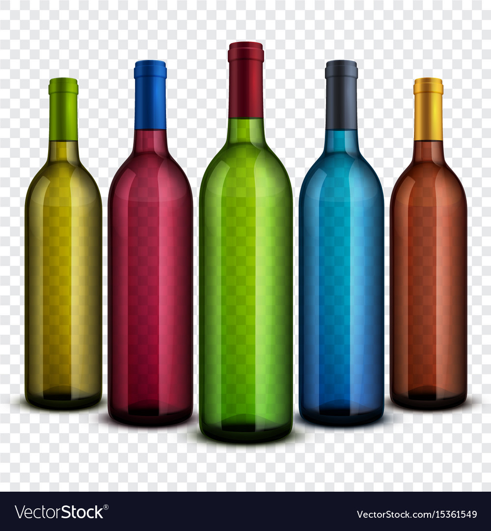 Realistic transparent glass wine bottles isolated