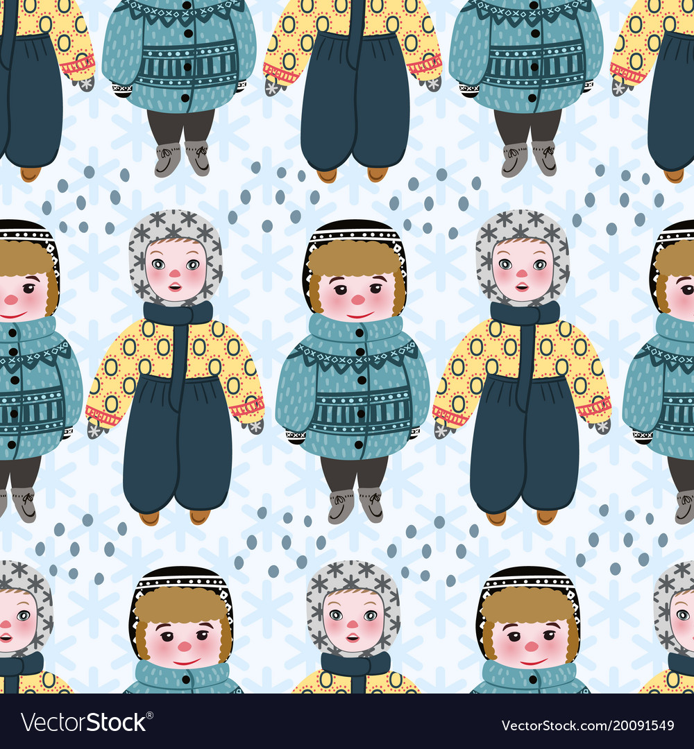 Seamless pattern with cute children boys