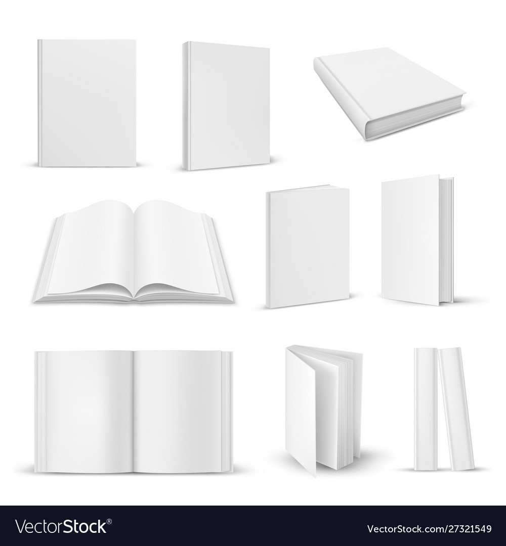 Set isolated opened and closed realistic book